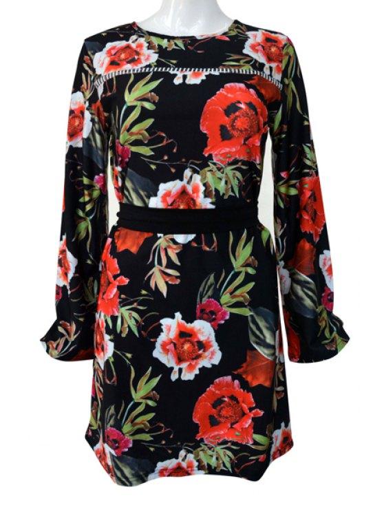 chic Long Sleeve Flower Print Dress - BLACK S