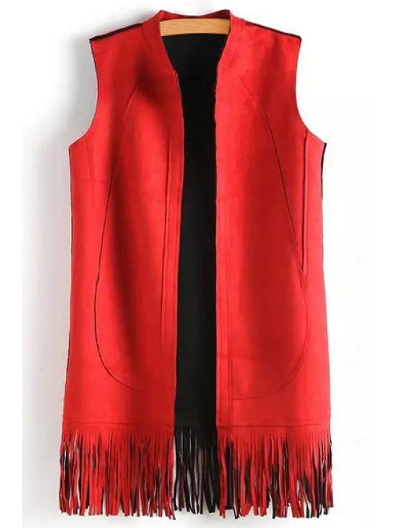 buy Solid Color Tassels Stand Neck Waistcoat - RED S