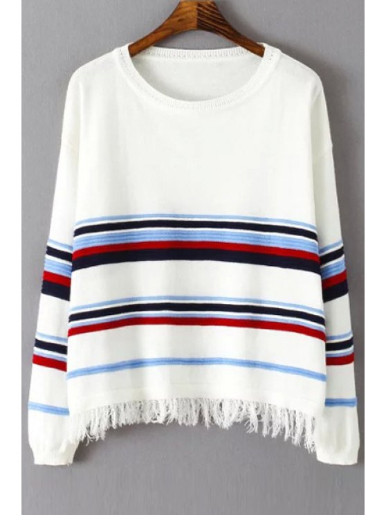 unique Striped Tassels Long Sleeve Jumper - WHITE ONE SIZE(FIT SIZE XS TO M)