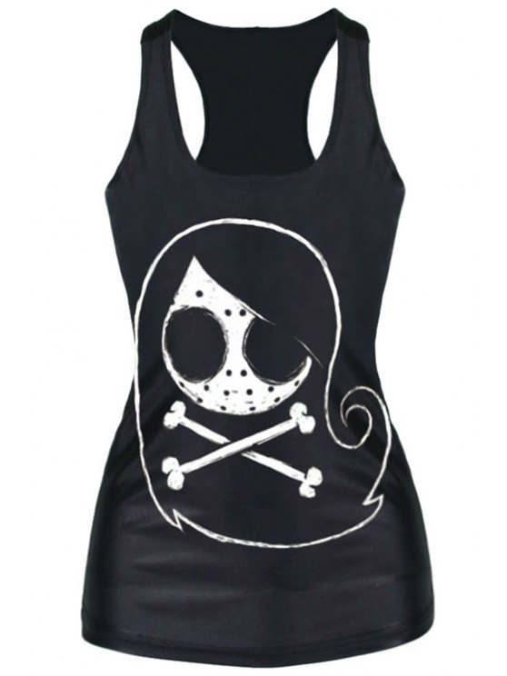 outfit Skull Print Stylish Racerback Women's Tank Top - BLACK ONE SIZE(FIT SIZE XS TO M)