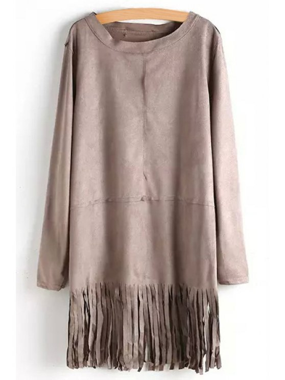 outfits Tassels Solid Color Long Sleeve Dress - KHAKI S