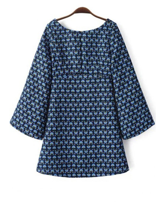 chic Tiny Floral Print Scoop Neck Long Sleeve Dress - BLUE S