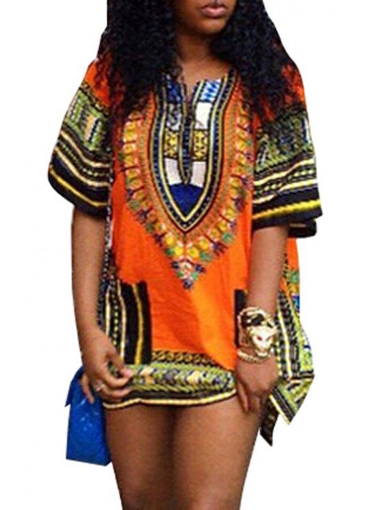 outfits V-Neck Tribal Pattern Dress - ORANGE S