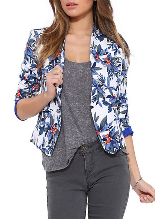 chic Blue Floral Long Sleeve Blazer - BLUE XS