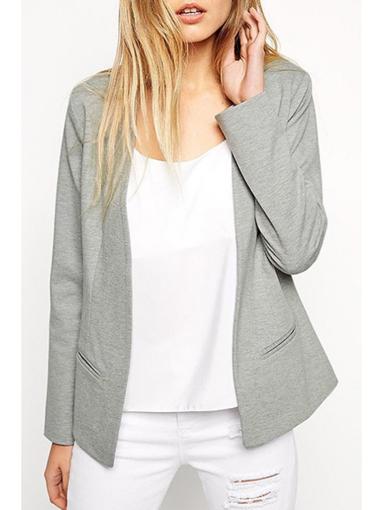 affordable Gray Collarless Long Sleeve Blazer - GRAY XS