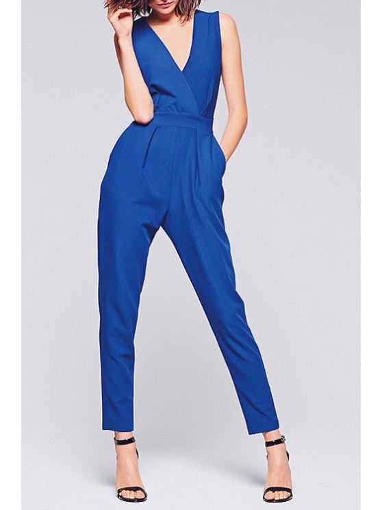 trendy Blue Plunging Neck Sleeveless Jumpsuit - SAPPHIRE BLUE S