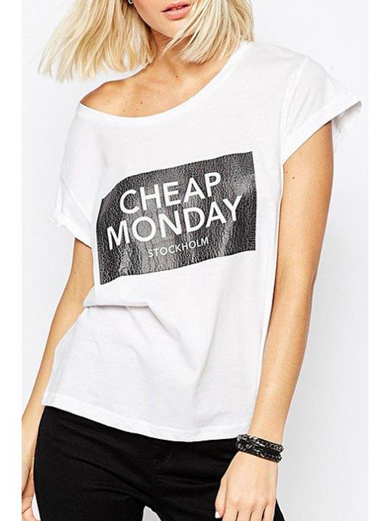 unique Letter Print White Short Sleeve T-Shirt - WHITE XS