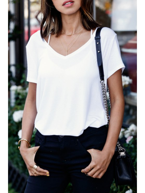 hot V-Neck Short Sleeve White T-Shirt - WHITE S