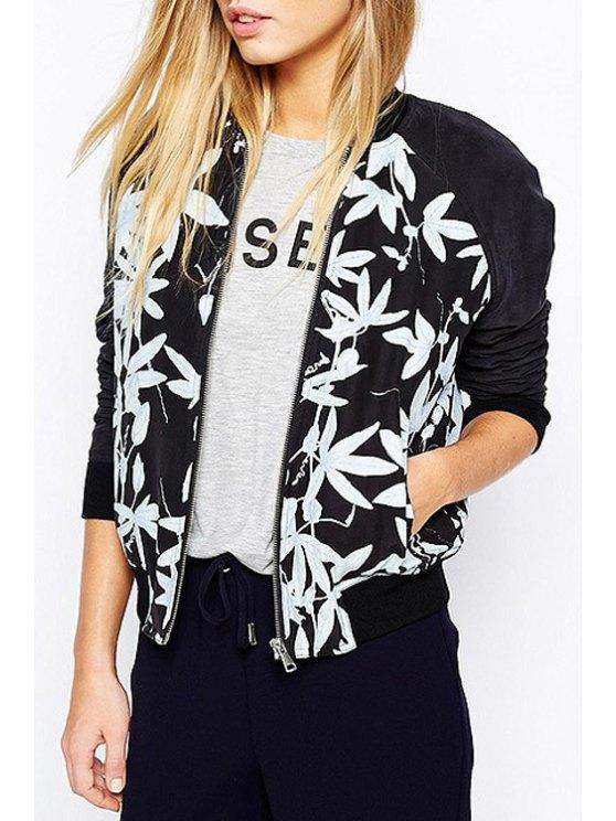 ladies Leaf Pattern Stand Neck Long Sleeve Jacket - BLACK XS