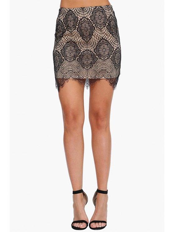 fancy Lace High Waist Bodycon Skirt - BLACK S