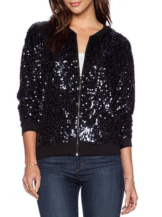 fashion Sequins Stand Neck Long Sleeve Jacket - BLACK S