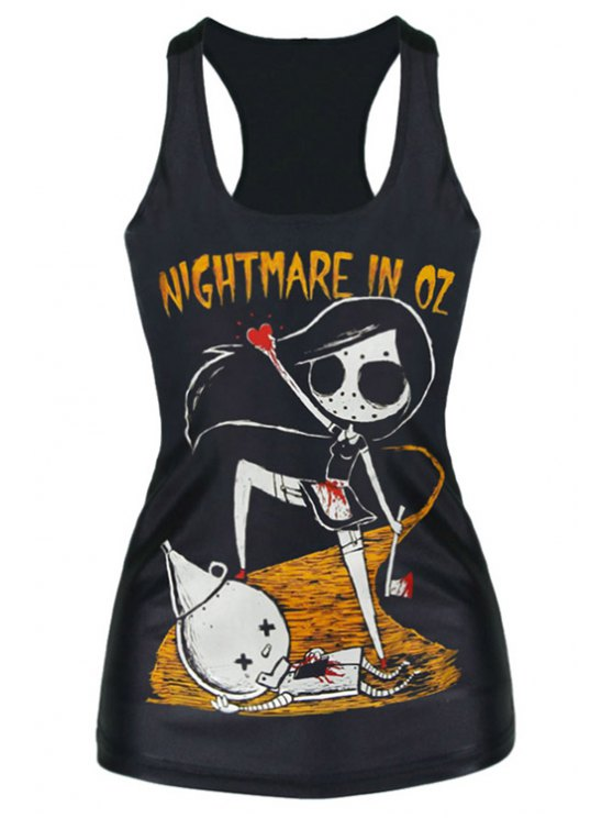 fashion Black Ghost Print Racerback Tank Top - BLACK ONE SIZE(FIT SIZE XS TO M)
