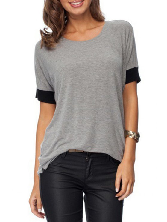 best Color Block Scoop Collar Short Sleeve T-Shirt - GRAY M