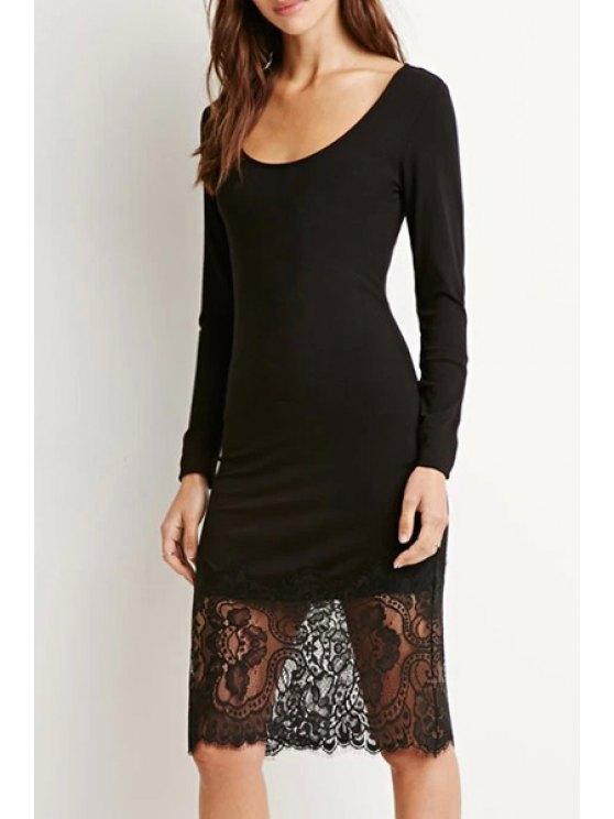 chic Lace Spliced Long Sleeve Black Dress - BLACK S