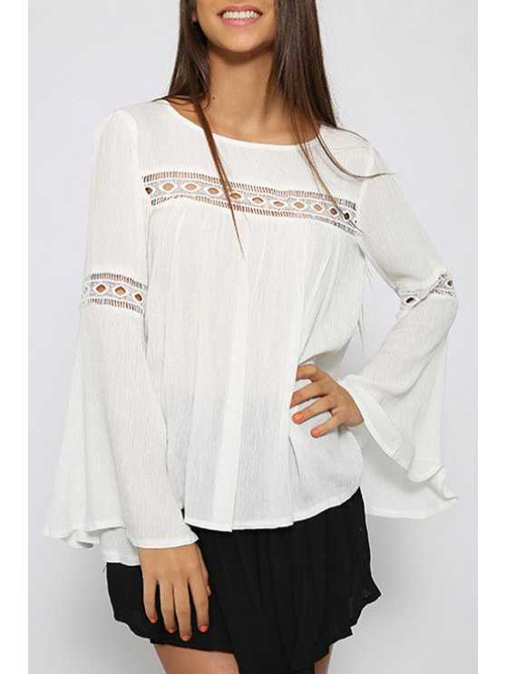 online Long Sleeves White Chiffon Blouse - WHITE S