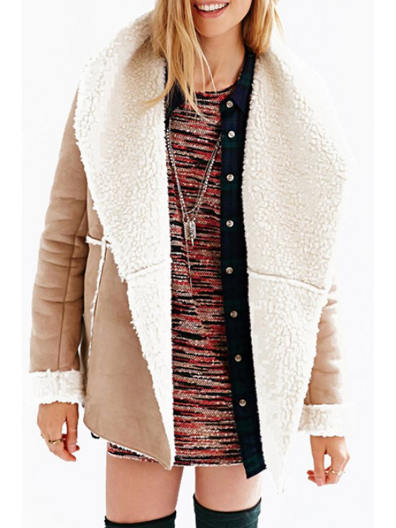 affordable Long Sleeve Fleece Lining Suede Coat - LIGHT BROWN XS