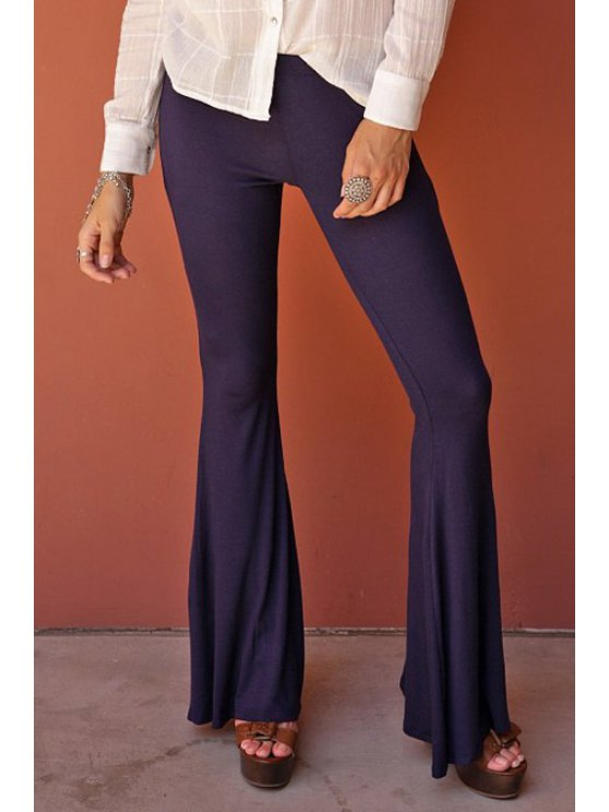 unique Flare Solid Color Pants - DEEP PURPLE L