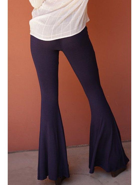 Flare Solid Color Pants - DEEP PURPLE M Mobile