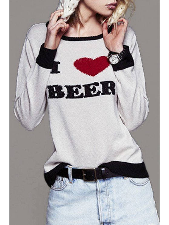 trendy Letter Heart Embroidered Sweater - WHITE XS