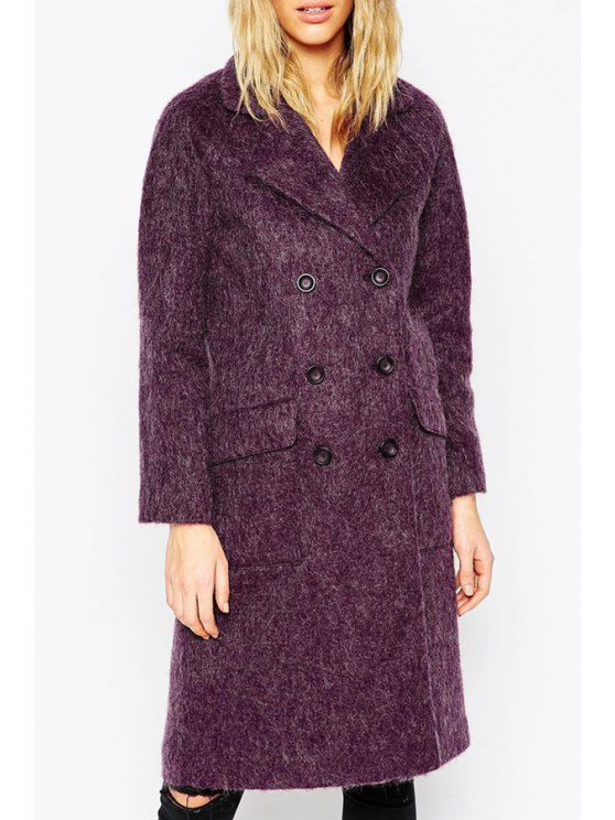 fashion Lapel Double-Breasted Purple Wool Coat - PURPLE XS