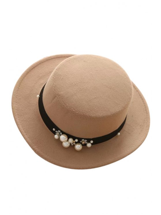 best Faux Pearl Strappy Flat Top Felt Hat - KHAKI