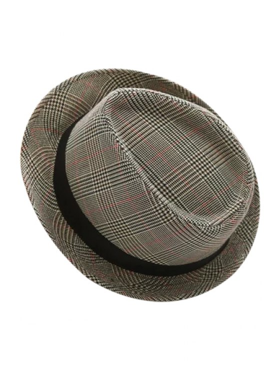chic Plaid Turnup Brim Jazz Hat - AS THE PICTURE