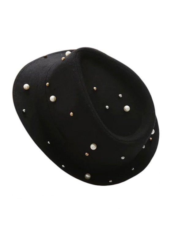 women Faux Pearl Jazz Hat - BLACK