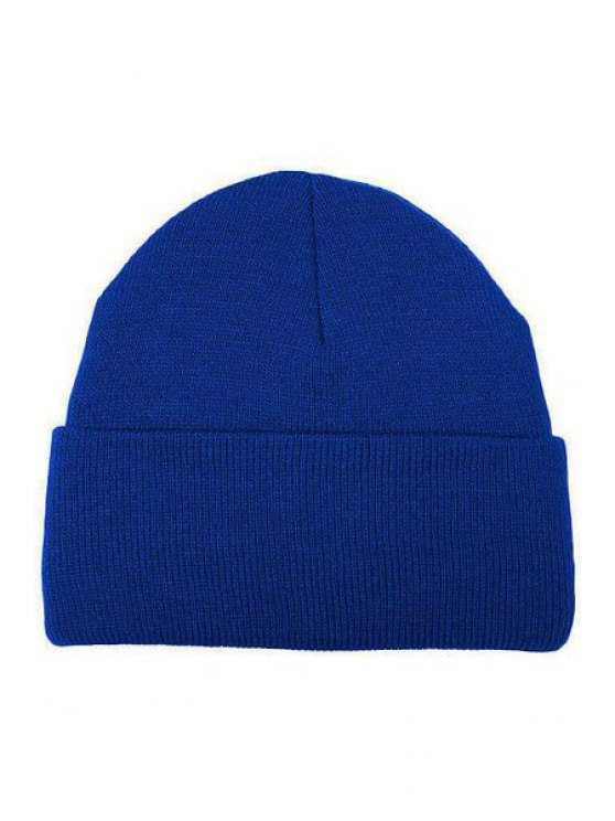 fashion Candy Color Knitted Beanie - BLUE