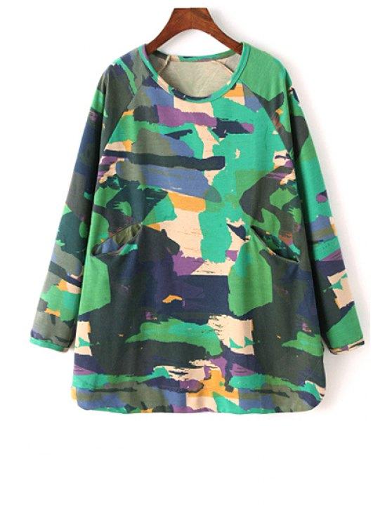 trendy Printed Round Collar Long Batwing Sleeves Sweatshirt - GREEN L
