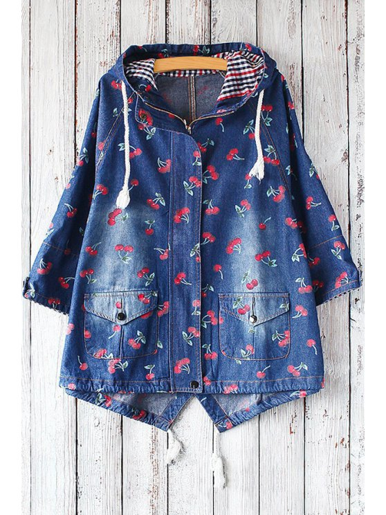 womens Hooded Full Cherry Denim Jacket - BLUE ONE SIZE(FIT SIZE XS TO M)