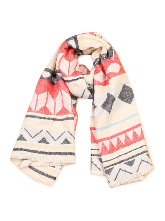 hot Tribal Geometric Pattern Fringed Scarf - BEIGE