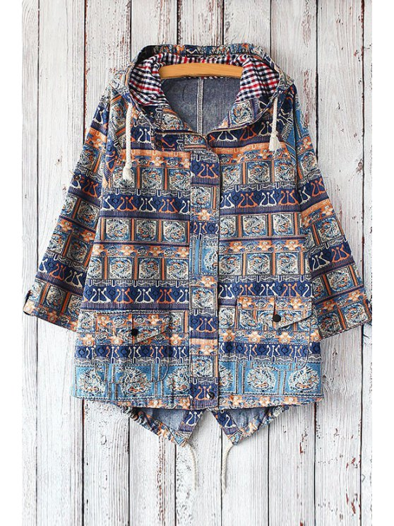 women Hooded Tribal Pattern Denim Jacket - BLUE ONE SIZE(FIT SIZE XS TO M)