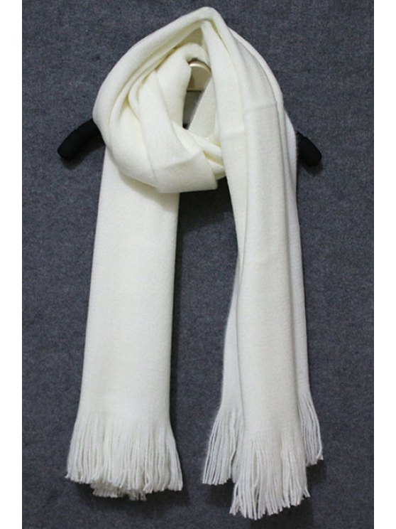 outfit Pure White Tassel Scarf - WHITE