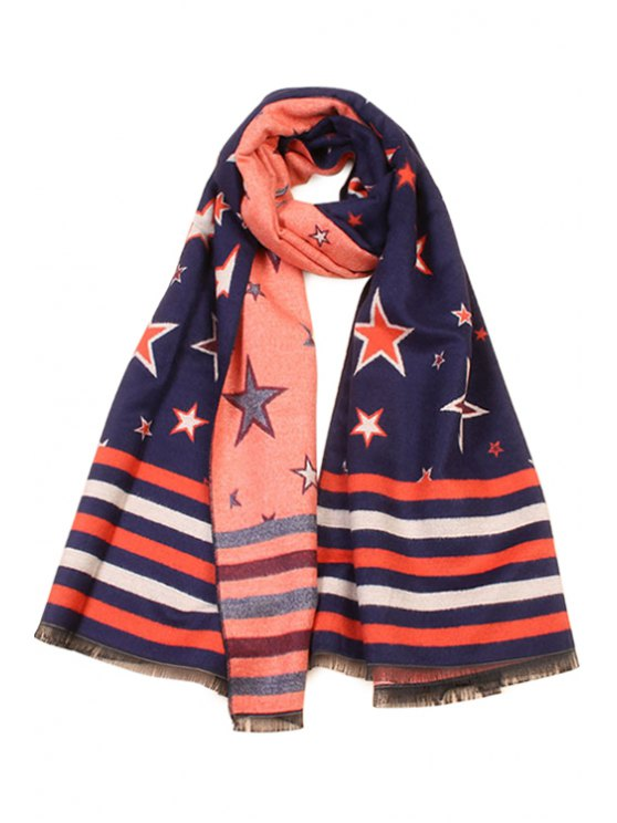 shops Five-Pointed Star Pattern Fringed Scarf - AS THE PICTURE