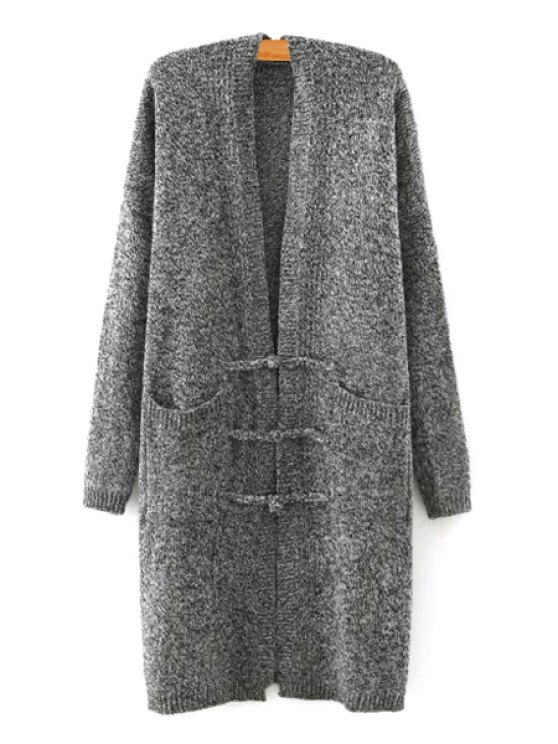 shop Big Pocket Long Sleeves Solid Color Button Cardigan - DEEP GRAY ONE SIZE(FIT SIZE XS TO M)