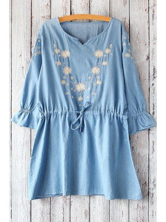 lady 3/4 Sleeve Dandelion Pattern Dress - LIGHT BLUE ONE SIZE(FIT SIZE XS TO M)