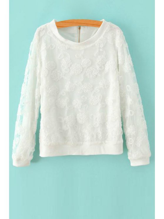 outfit Flower Print Round Collar Long Sleeves Lace Sweatshirt - WHITE M