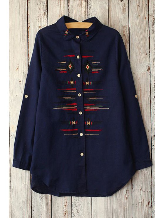 chic Long Sleeve Embroidered Shirt - PURPLISH BLUE ONE SIZE(FIT SIZE XS TO M)