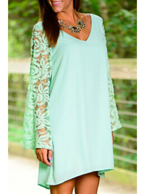 ladies V-Neck Long Sleeves Solid Color Lace Hook Dress - GREEN S