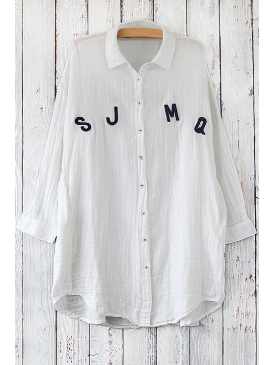 womens Long Sleeve Letter Pattern Long Shirt - WHITE ONE SIZE(FIT SIZE XS TO M)