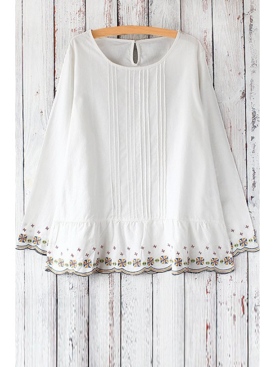 women's Round Neck Embroidered Hem Blouse - WHITE ONE SIZE(FIT SIZE XS TO M)