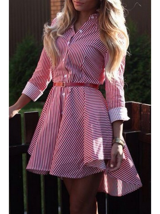 Striped Single-Breasted Dovetail Dress - RED XL Mobile