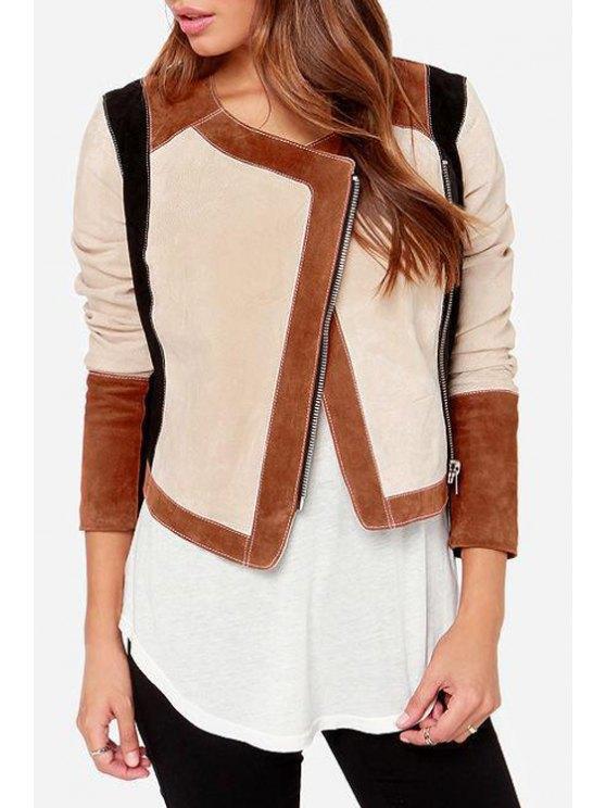 new Color Block Jewel Neck Long Sleeve Jacket - COLORMIX S