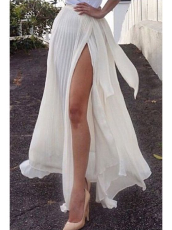 shop Solid Color Pleated Side Slit Skirt - WHITE S