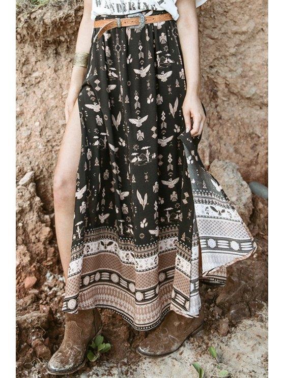 online High Slit Multielement Print Long Skirt - BLACK M