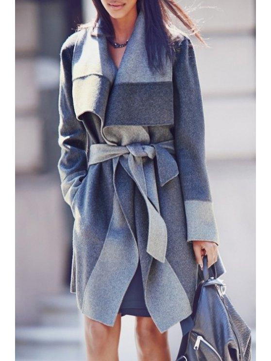 ladies Self-Tie Belt Wool Coat - GRAY M