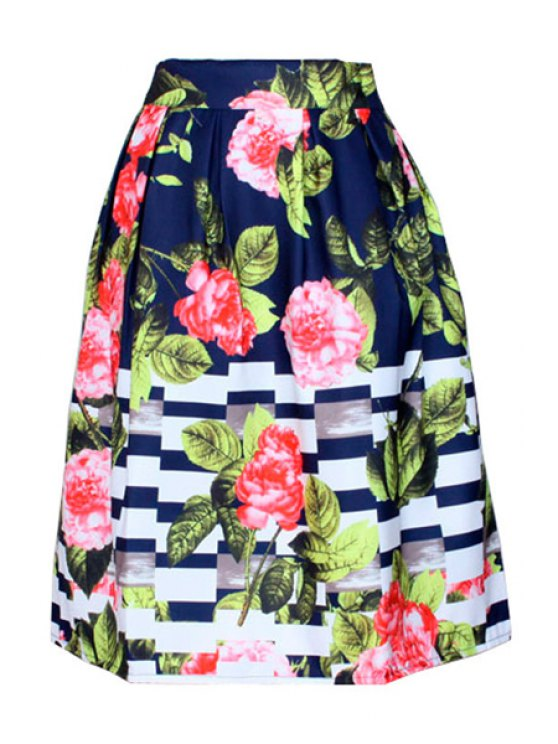 trendy Floral Print Striped Midi Skirt - BLUE ONE SIZE(FIT SIZE XS TO M)