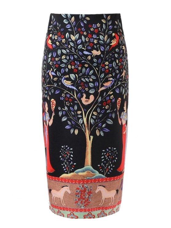 fancy Banyan Print Back Slit Pencil Skirt - BLACK S