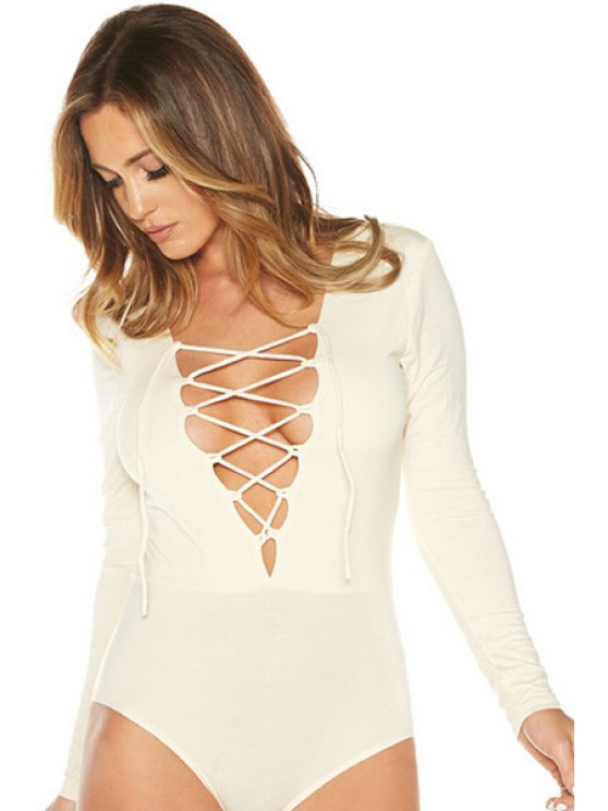fashion Bodycon Lace-Up Plunging Neck Long Sleeves Romper - WHITE M