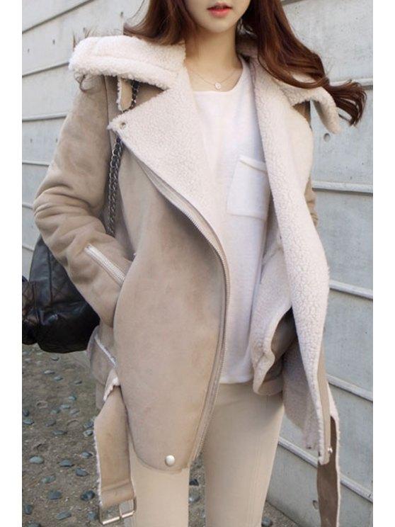 ladies Lamb Wool Long Sleeve Turn Down Collar Coat - KHAKI M